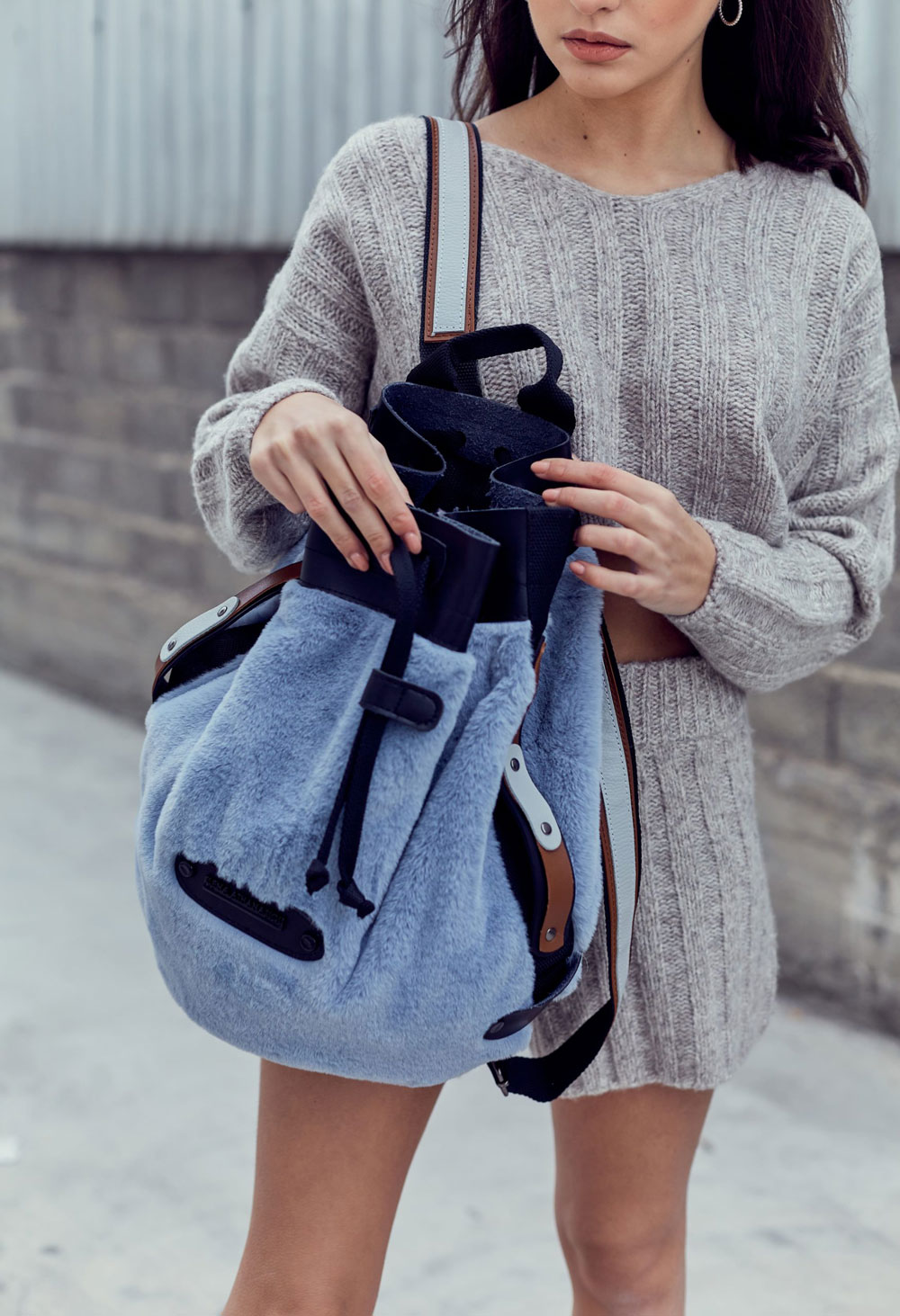 Fluffy Backpack Baby Blue