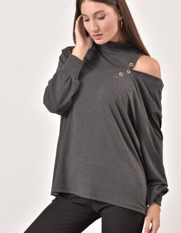 Prive Collection dark grey blouse